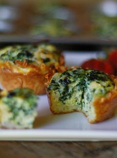 Recipe for Mini Spinach and Gruyere Quiches with a Hash Brown Crust - Mini food is fun food! Baked up in crispy, shredded potato crusts, and filled with fresh eggs, milk and organic spinach, these mini muffin tin creations turn healthy food into fun food for kids