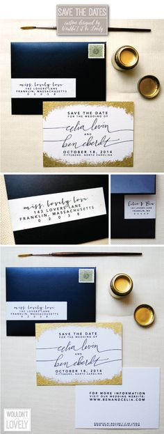Wedding save the dates, white gold and black, gilded edges, metallic invites, gold fleck, hand painted save the dates, Wouldn't it be Lovely