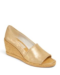 Jack Rogers Women's Palmer Wedge Heel Espadrille Sandals In Gold Leather Wedge Sandals, Wedge Heels, Leather Boots, Peep Toe Espadrilles, Espadrille Sandals, Cowboy Boots Women, Cowgirl Boots, Western Boots, Riding Boots