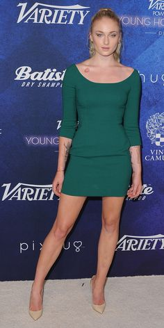 Sophie Turner smoldered at Variety's Power of Young Hollywood event in a LGD, a little green dress, which has all the powers of a LBD in that it's sleek, chic, and timeless, but with added appeal, thanks to its rich emerald hue.