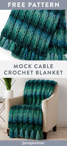 Chunky Crochet Blanket Pattern Free, Bernat Blanket Patterns, Quick Crochet Blanket, Crochet Stitches For Blankets, Crochet For Beginners Blanket, Afghan Crochet Patterns, Blanket Yarn, Crochet Cable Stitch, Ombre Yarn