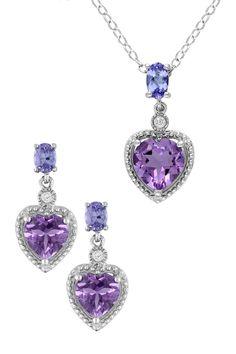 Sterling Silver Amethyst, Diamond, & Tanzanite Pendant Necklace & Earrings Set