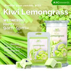 Today's scent of the day: Kiwi Lemongrass! Earn double reward points from 9-5!  #jicrewards #jicscents