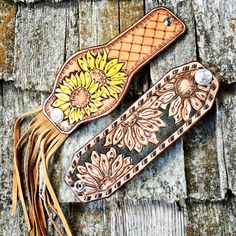 Sunflower leather cuffs bring sunshine to your day. Handmade by Tamra.