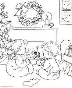 Christmas morning coloring pages!