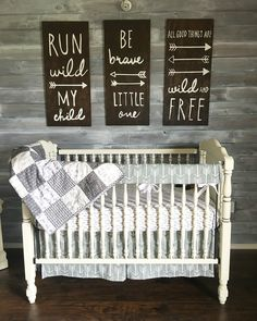 Woodland theme nursery. Gender neutral. Grey and white. Rustic