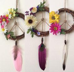 Custom Groovy Peace Sign Grapevine Daisy Flower Wreath Dream Catcher Wall Hanging