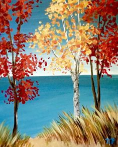Lake Michigan in the Fall Fall Canvas Painting, Lake Painting, Autumn Painting, Autumn Art, Painting & Drawing, Canvas Art, Easy Paintings, Landscape Paintings, Guache