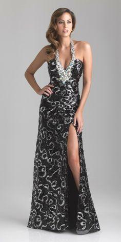 Night Moves Sequined Halter Dress 6738