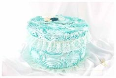 READY TO SHIP Card Box / Wedding Box / Money Card Box / Gift Holder in Aqua (Mint) Ivory and Jade with a Beautiful Lace Handmade Flowers