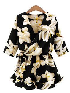春夏新品Vカット半袖ファッション花柄オーバーオール - レディースファッション激安通販|20代·30代·40代ファッション
