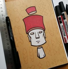 Sketchbook mess about inspired by the #RapaNui exhibit at Manchester Museum.