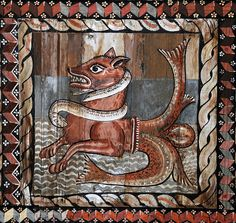 Bear with fish tail - St Martin Church - Zillis, Switzerland Medieval Life, Medieval Art, Medieval Manuscript, Illuminated Manuscript, Peterborough Cathedral, In Medias Res, Old Best Friends, Mesoamerican, Sea Monsters