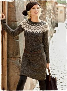 Fashion Friday: Sweater Dresses - I& look like a Scandinavian knitting magazine model, but I kind of dig it. Source by - Winter Sweater Dresses, Sweater Dress Outfit, Winter Sweaters, Fall Winter Outfits, Knit Dress, Autumn Winter Fashion, Winter Coats, Legging Outfits, Fair Isle Pullover
