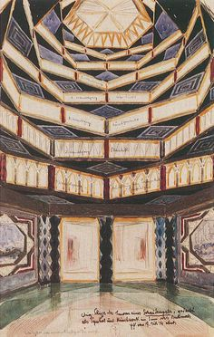 Interior of a Display Temple is a Futurist Watercolor Painting created by Wenzel Hablik in It lives at the Wenzel Hablik Museum in Germany. The image is tagged Temple. Modern Art, Visionary, Sketches, Futuristic, Painting, Art, Geometric, Pictures, Art Pictures