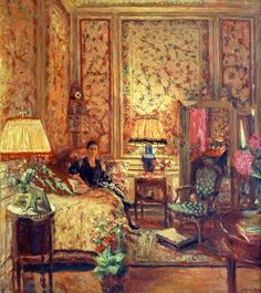 "Edouard Vuillard - The ""Voiles de Gênes"" Boudoir, 1931 (Portrait of Madame Fernand Javal in her bedroom suite) Pierre Bonnard, Edouard Vuillard, Poster Xxl, Post Impressionism, Paul Gauguin, French Artists, Famous Artists, Interior Paint, Painting & Drawing"