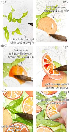 Aquarell-Orangen-Bouquet-Tutorial Source by The post Aquarell-Orangen-Bouquet-Tutorial appeared firs Watercolor Fruit, Watercolor Tips, Watercolor Projects, Watercolour Tutorials, Watercolor Illustration, Watercolor Flowers, Painting Flowers, Watercolor Pencils, Watercolors