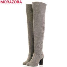 Morazora大きなサイズ34-45 2017女性のブーツ厚いハイヒールオーバーを膝高いブーツ秋冬ブーツファッション腿の高い靴