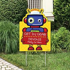 Robots - Party Decorations - Birthday Party or Baby Shower Personalized Welcome Yard Sign | BigDotOfHappiness.com