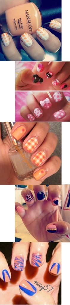 Orange and pink nail art for short nails! Check out this wide array of cool designs, from ombre gradient to chevron stripes, marbled nails, bows, rhinestones, plaid, and more! Nails for Fall, Nailpro Magazine