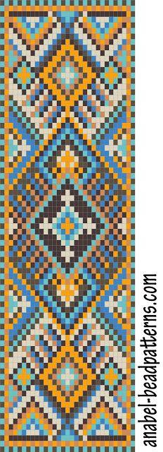 Схема широкого браслета с орнаментом - станочное ткачество / гобеленовое плетение   - Схемы для бисероплетения / Free bead patterns -
