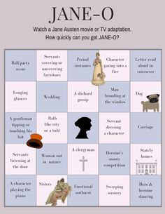 By Jennifer Abella You know the drill. Slip in a DVD. Sit back. Let the Jane Austen adaptation work its magic. Why not make the movie a bit more interesting by playing JANE-O? Jane Austen Book Club, Jane Austen Movies, Emma Jane Austen, Jane Eyre, Classic Literature, Classic Books, Bingo, Character Letters, Becoming Jane