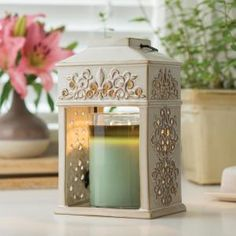 Candle Warmers Etc 12 in. Fleur de Lis Ceramic Candle Warmer Lantern-LCFLR - The Home Depot