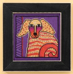 """LB301613  Goldie -  Dogs Collection (Linen)  Mill Hill  Laurel Burch Kit Includes: Beads, 28ct Lilac linen, floss, needles, chart and instructions.  6"""" x 6"""" Mill Hill frame GBFRM1 sold separately   14ct Aida Kit:LB301623  Size: 5"""" x 5"""""""