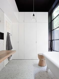 Your very first residential design job can be daunting. And this is the fabulous result of Melbourne-based Northbourne Architecture + Design. Modern Laundry Rooms, Laundry In Bathroom, Modern Bathroom, Bathroom Black, Residential Interior Design, Contemporary Interior Design, Residential Lighting, Bathroom Inspiration, Interior Inspiration
