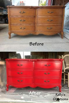 Red French Provincial dresser with black antiquing before and after pictures. Refinished by Kelly's Creations. https://www.facebook.com/pages/Kellys-Creations-Refinished-Furniture/524028237619793