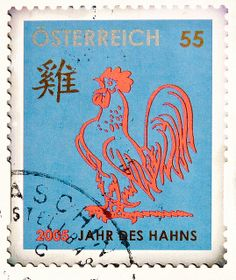 des Hahns China zodiac horoscope rooster chicken stamp ...