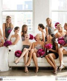 Couch bridal party shot, various grey bridesmaid dresses with bright pink flowers Wedding Pics, Wedding Bells, Dream Wedding, Wedding Ideas, Trendy Wedding, Wedding Story, Post Wedding, Luxury Wedding, Fall Wedding