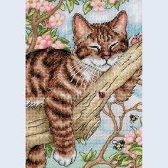 Napping Kitten - Dimensions handwerkpakket met telpatroon