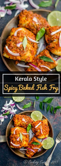 Kerala Style Spicy Baked Fish Fry ~ A spicy fish & that is baked instead, with some delicious Kerala style spice marinade. This is a great side to rice and curry or even an appetizer! Fish Recipes, Seafood Recipes, Indian Food Recipes, Healthy Dinner Recipes, Ethnic Recipes, Kerala Recipes, Indian Foods, Indonesian Recipes, Recipies