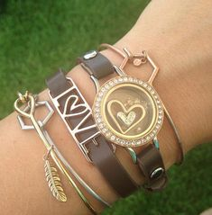 Our brown leather wrap bracelet with rose gold locket paired with our Core bangles. I LOVE this look! #origamiowl