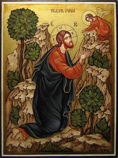 Jesus Christ Agony In The Garden, Hand painted orthodox icon, Byzantine. Byzantine Icons, Byzantine Art, Religious Icons, Religious Art, Agony In The Garden, Catholic Art, Orthodox Icons, Sacred Art, Christian Art