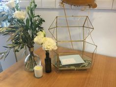 Geometric Gold and Glass Decor Wishing Well | Gold Wedding Decor | Available for hire from www.thesmallthings.co | Melbourne based wedding hire company
