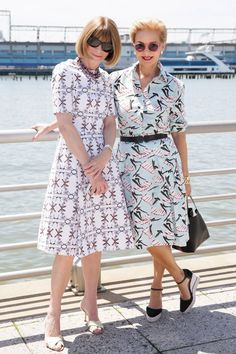 Carolina Herrera and Anna Wintour at the Born Free Africa Mother's Day Family Carnival in New York, May 11, 2014