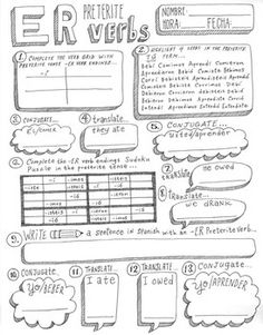 Spanish -ER verb preterite worksheet ~verb conjugation ver