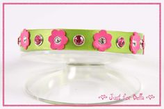 "Lime Pearl Leather Dog Collar with Bubblegum Pink Flowers and Swarovski crystals -- Size Small (neck sizes 9"" - 10"").  See more details at Etsy. $44"