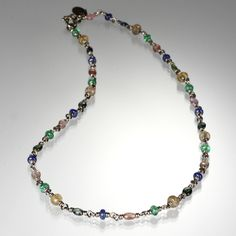 """@QUADRUM An 18K white gold 16"""" Multi-Isabella necklace with various gemstones, by Reinstein/Ross"""