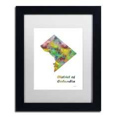 Marlene Watson 'District of Columbia State Map-1' Matted Framed Art