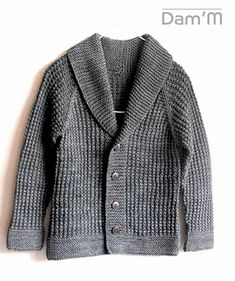A textured grandpa cardi, with a shawl collar, for your vintage little buddy :) sizes up to 7-8 yrs