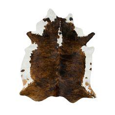 Handmade Dark Tri-color Special Cow Hide Rug
