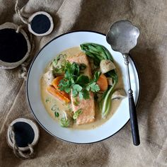NOODLE-FREE SALMON LAKSA. A bowl of healthy, tasty goodness on the table in just 20 minutes. What could be better after a busy day? Flavoursome Tasmanian salmon, loads of market fresh bok choy, mushrooms, herbs and sweet potato to fill you up! 20 Minutes. Dairy Free. Brilliant.