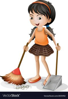 A young girl sweeping Royalty Free Vector Image