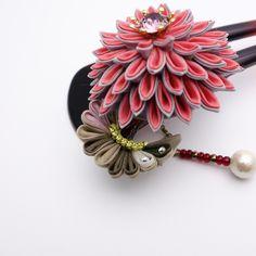 つまみ細工 かんざし「珠花」曙空色 つまみかんざし 和 髪飾り