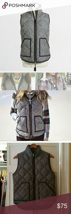J. Crew Herringbone Puffer Vest NWOT Beautiful and comfortable designer J.Crew Herringbone Puffer Vest! I am looking to sell on this item so no trades but feel free to put an offer on because I am willing to be flexible on price. I am only selling this item because my ex got it for me as a gift and I wore it once. Basically new. J. Crew Jackets & Coats Vests
