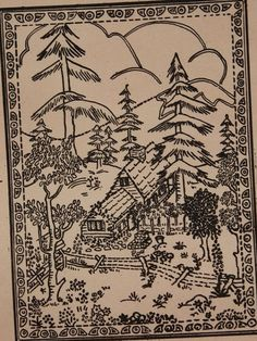 Mountain Scene, Wall Hanging  Create a beautiful wall hanging for your home with this mountain scene design or perhaps a center piece for a quilt. This is a vintage Aunt Martha transfer pattern. The design can be used for embroidery, fabric painting, wearable art, needlepoint, quilting and other art crafts.  This is an unopened, unused transfer pattern in good condition.