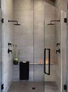 Decora��o de banheiro moderno. A combina��o de elementos pretos e cinza traz sofistica��o. Wood Bathroom, Bathroom Layout, Bathroom Interior, Modern Bathroom, Bathroom Remodeling, Bathroom Ideas, Simple Bathroom Designs, Minimalist Bathroom, Bathroom Styling